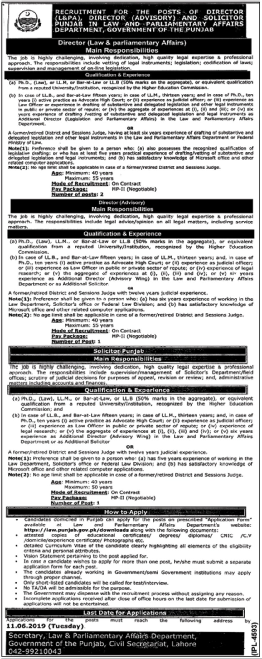 Law and Parliamentary Affairs Department Punjab Jobs 2019