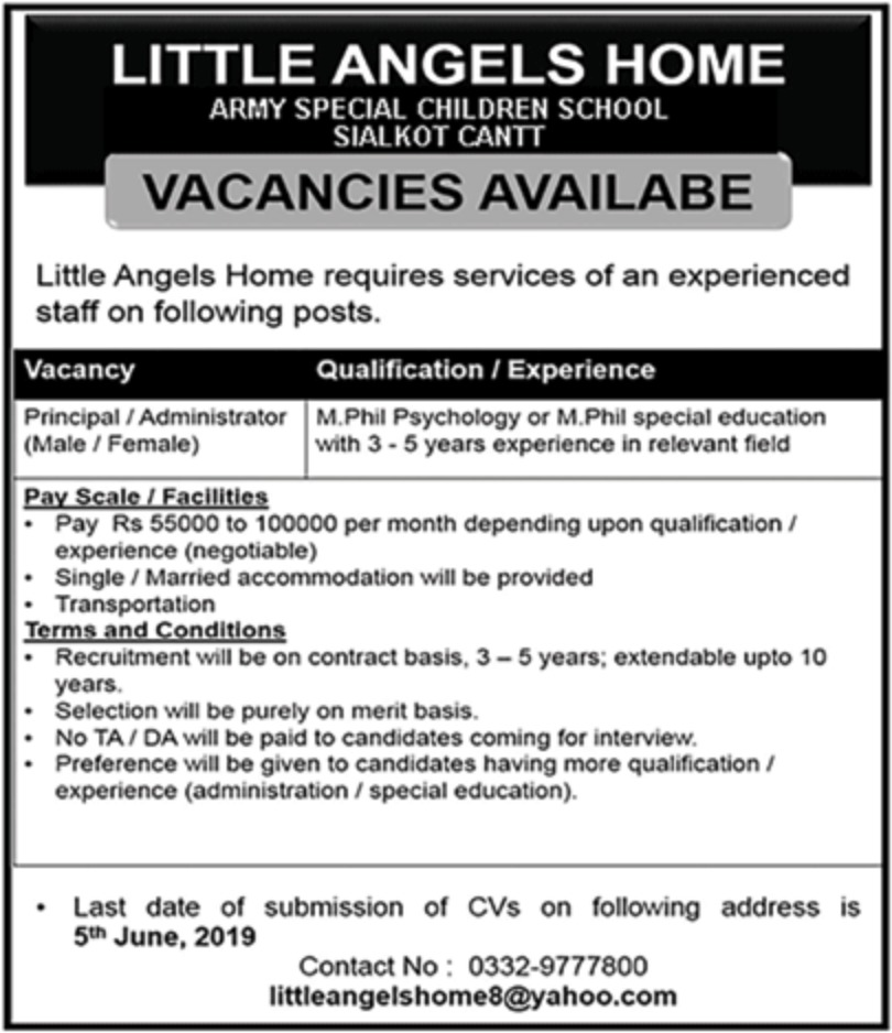 Little Angels Home Jobs 2019 Army Special Children School Sialkot Cantt