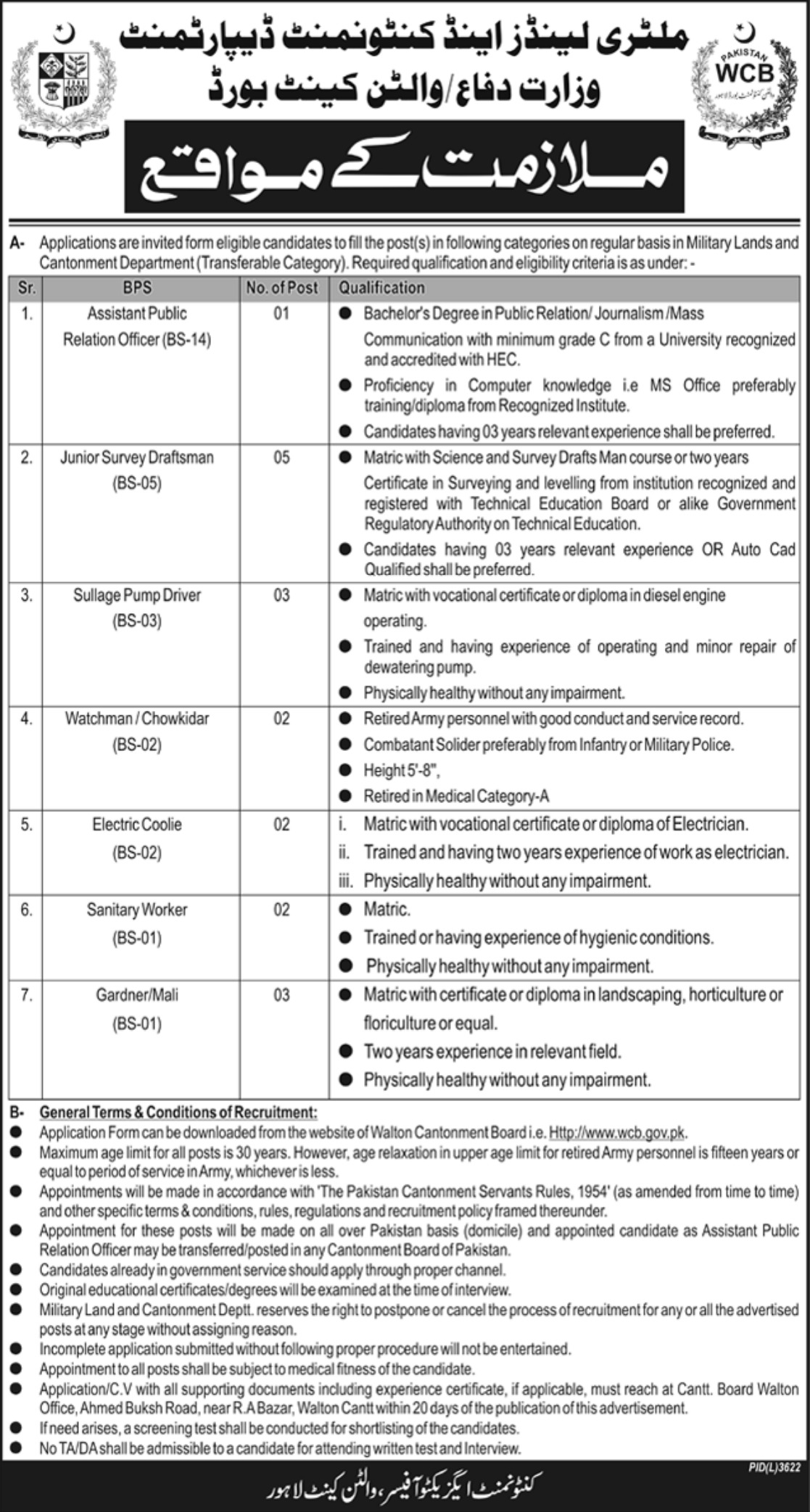 Military Lands & Cantonment Department Walton Cantt Lahore Jobs 2019 Ministry of Defence