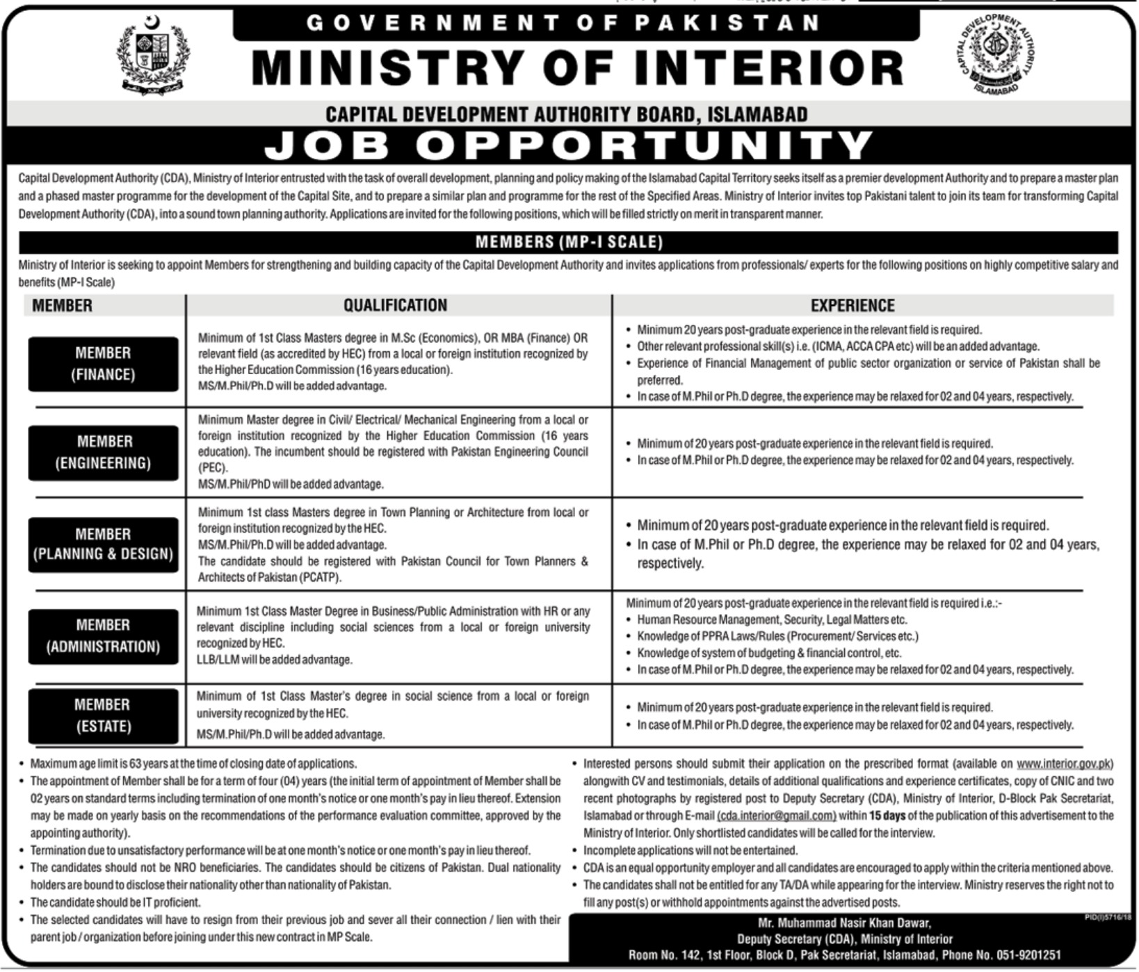 Ministry Of Interior Jobs 2019 Capital Development Authority Cda Islamabad Paperpk Jobs