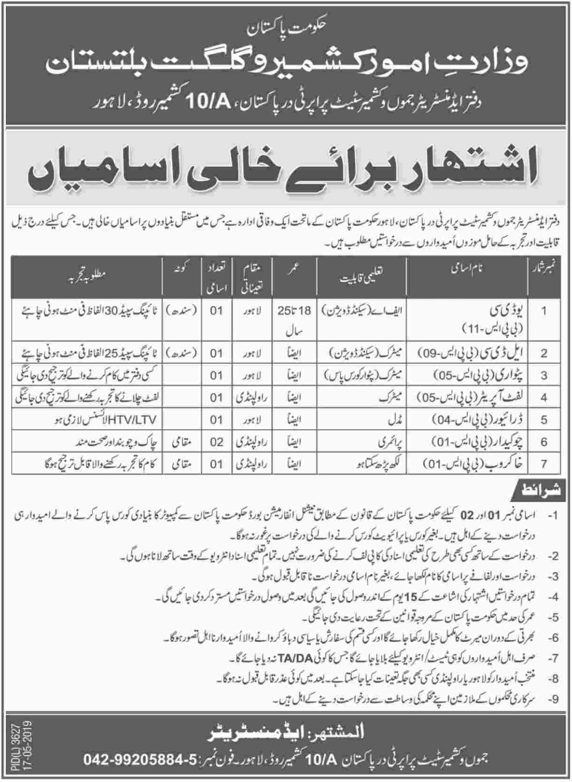Ministry of Kashmir Affairs & Gilgit Baltistan Jobs 2019
