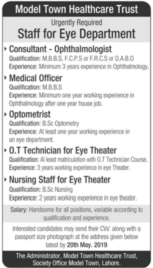 Model Town Healthcare Trust Lahore Jobs 2019