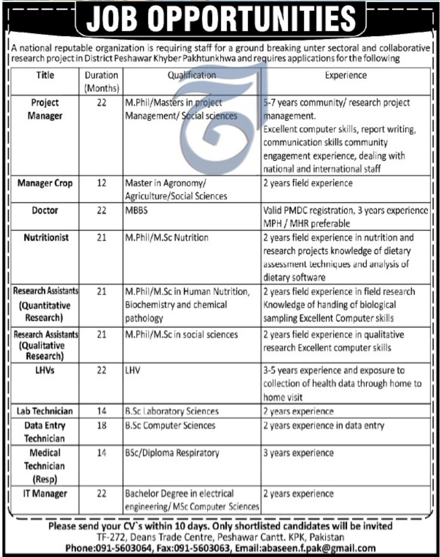 National Reputable Organization Peshawar Cantt Jobs 2019 KPK