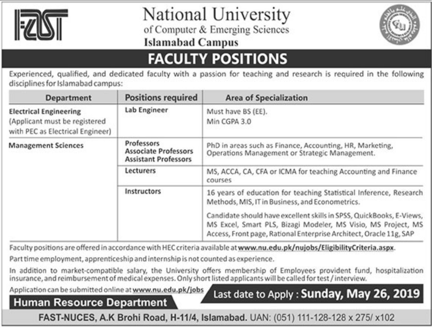 National University of Computer & Emerging Sciences Jobs 2019 Islamabad Campus