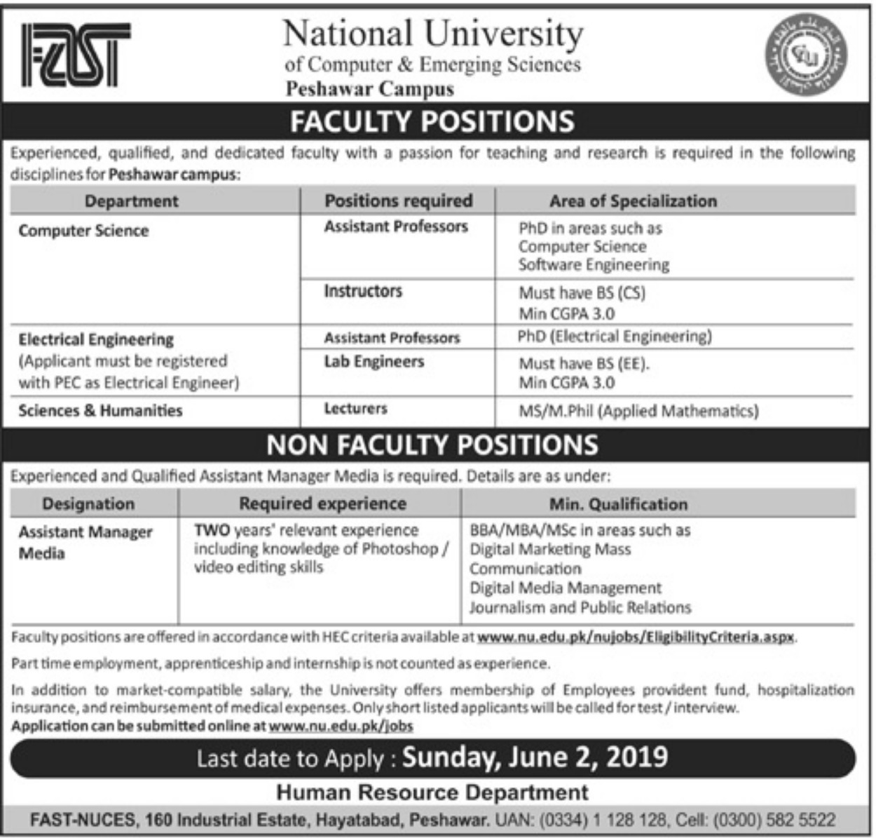 National University of Computer & Emerging Sciences Jobs 2019 Peshawar Campus