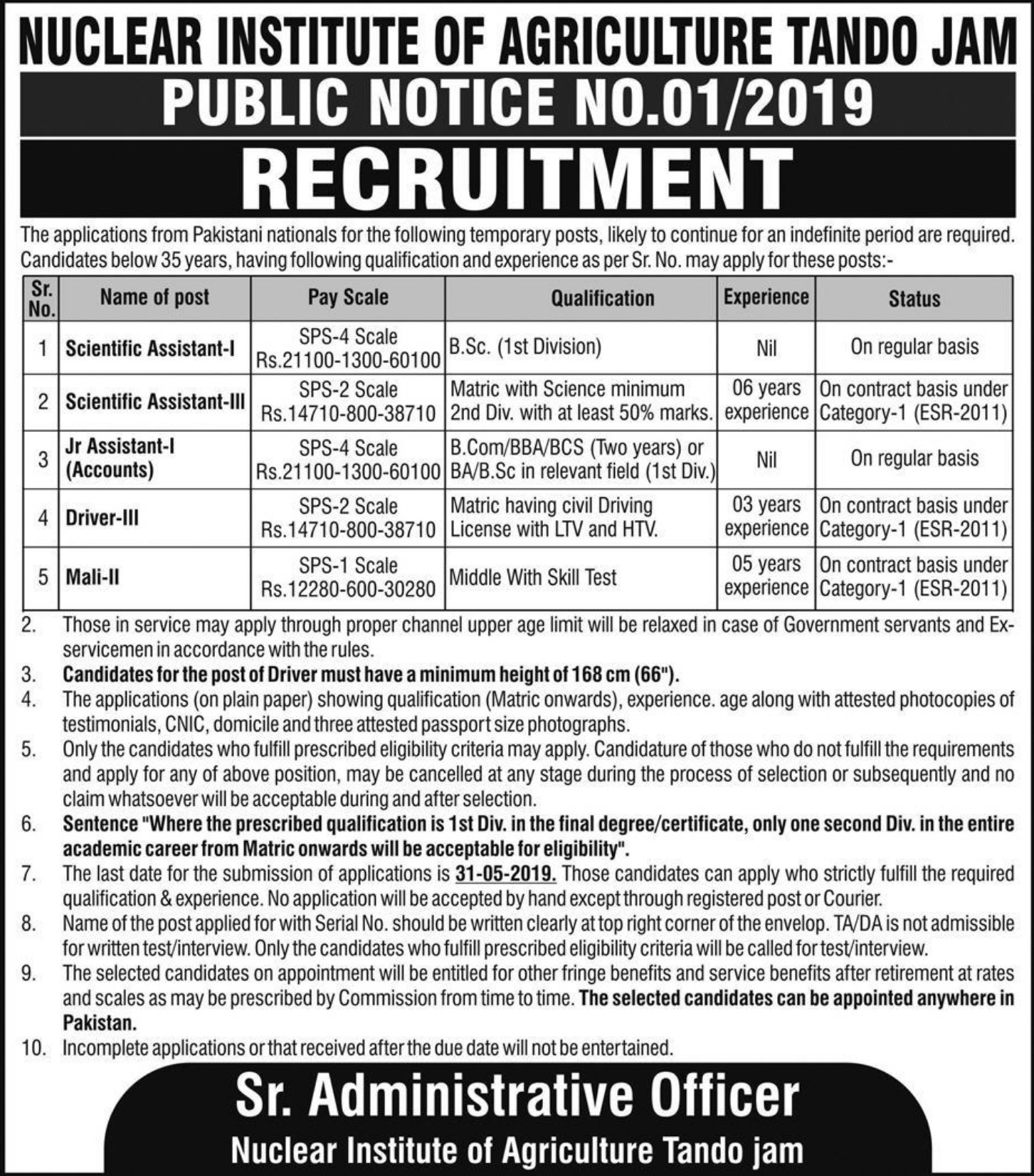 Nuclear Institute of Agriculture Tando Jam Jobs 2019 Sindh