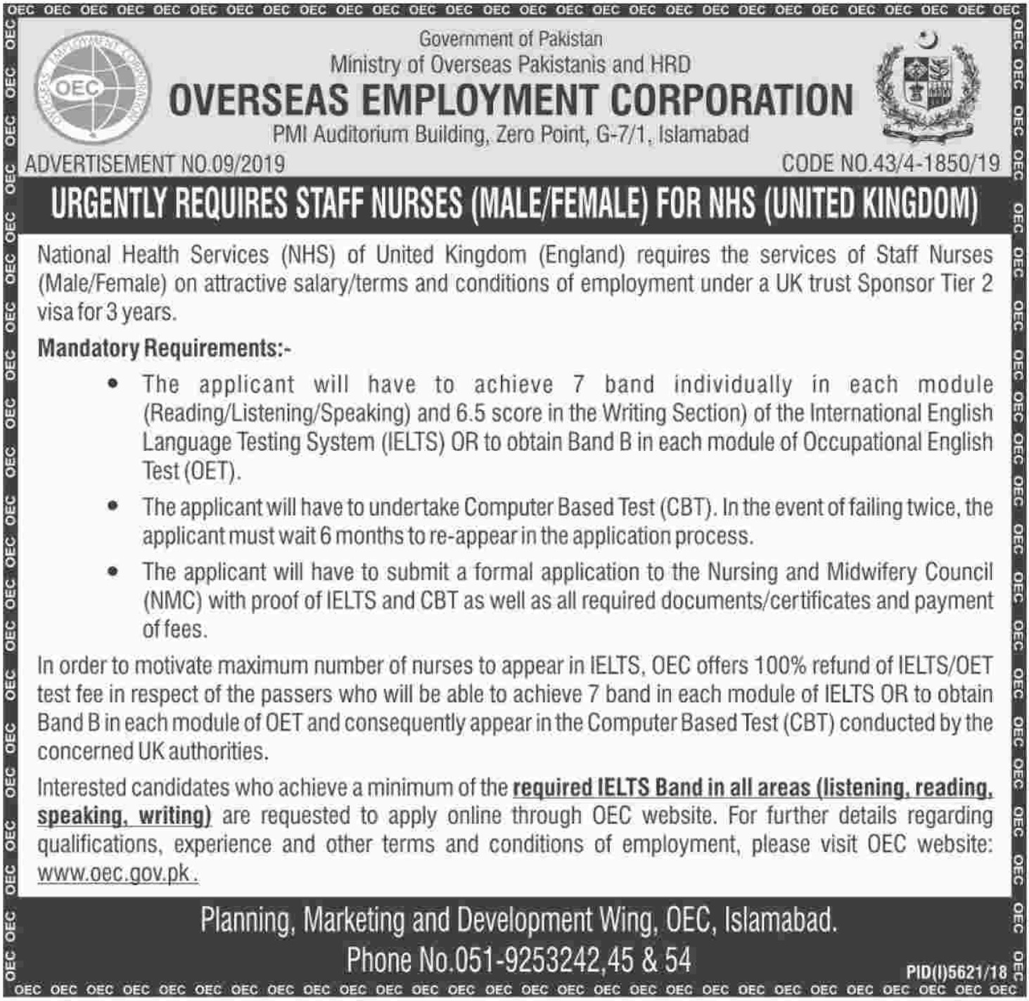 Overseas Employment Corporation OEC Jobs 2019 Staff Nurses UK