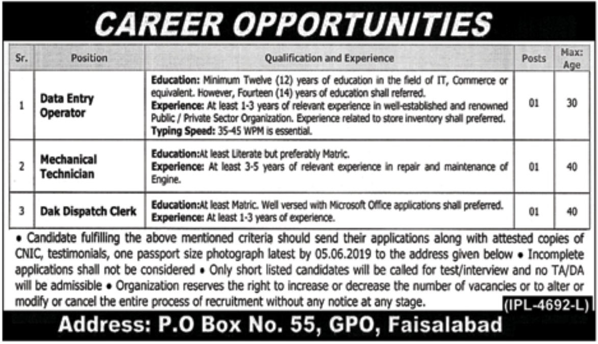 P.O.Box 55 Faisalabad Jobs 2019