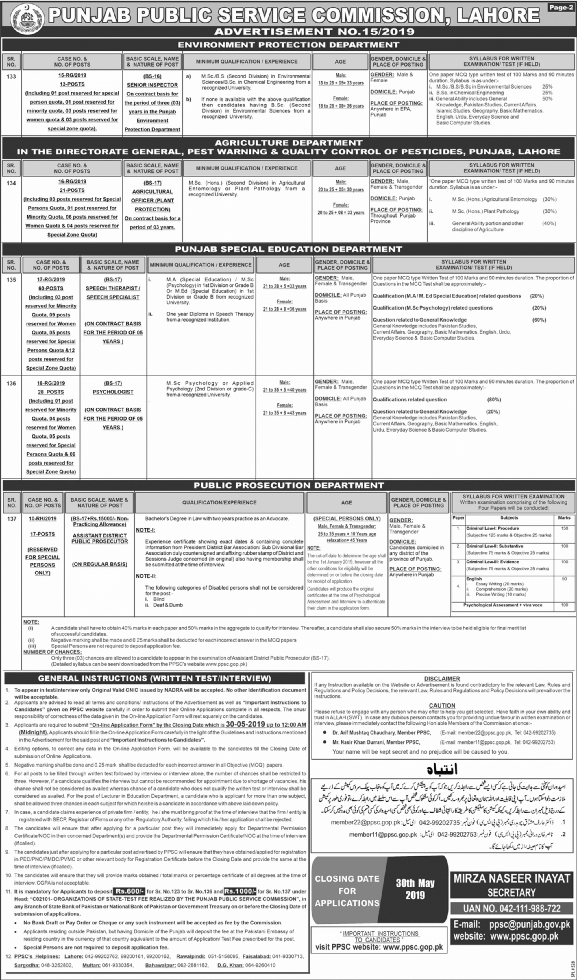 PPSC Jobs 2019 Latest Advertisement(1)