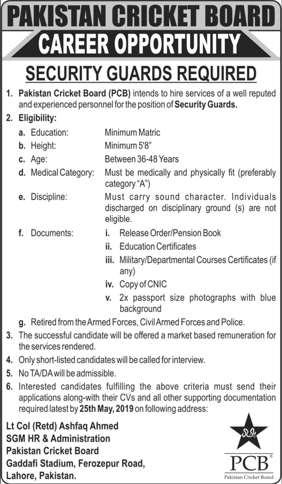 Pakistan Cricket Board PCB Jobs 2019 Security Guards