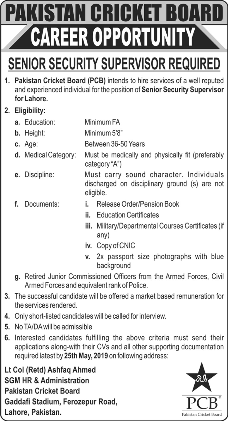 Pakistan Cricket Board PCB Jobs 2019 Senior Security Supervisor