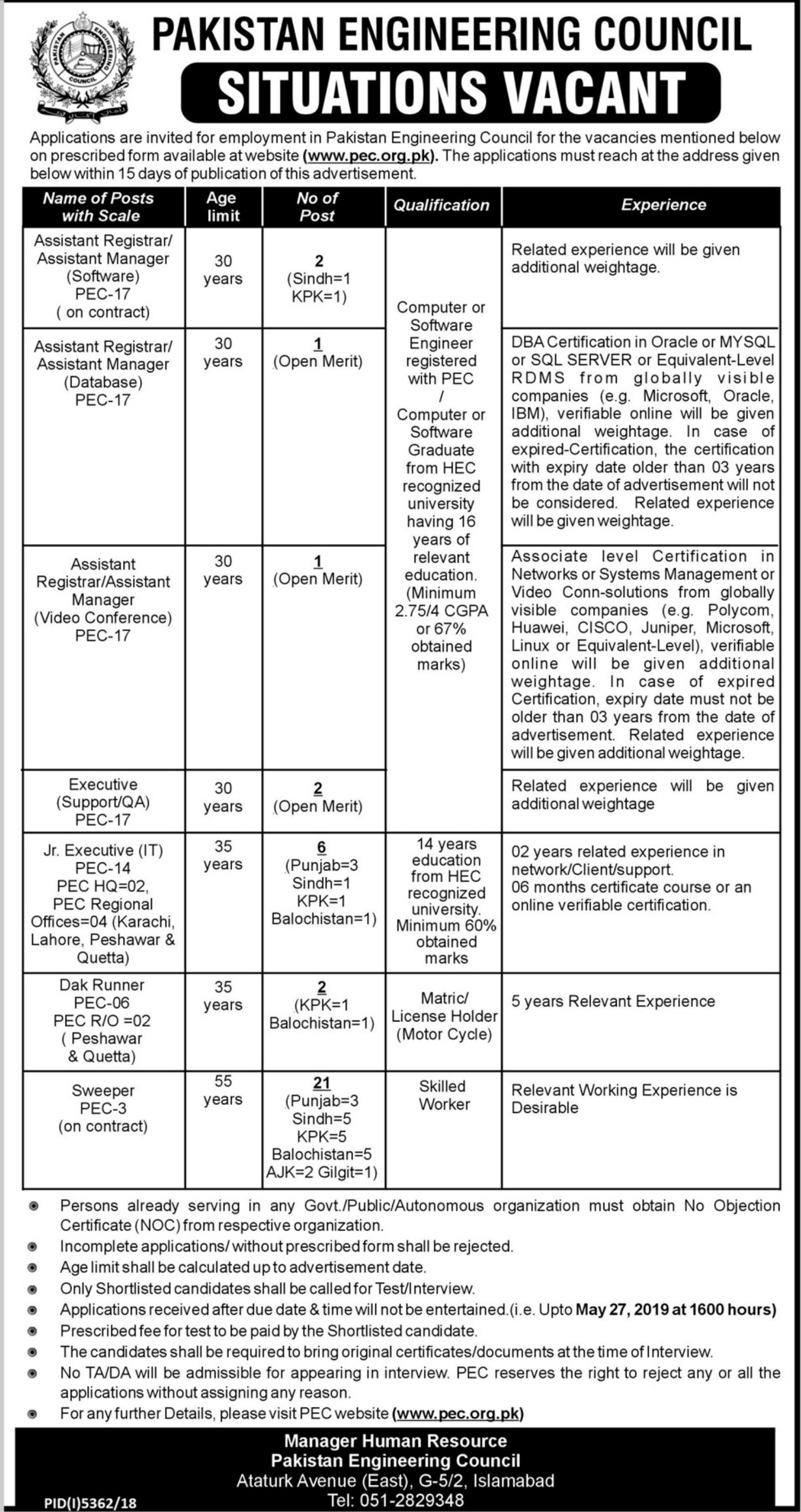 Pakistan Engineering Council PEC Jobs 2019