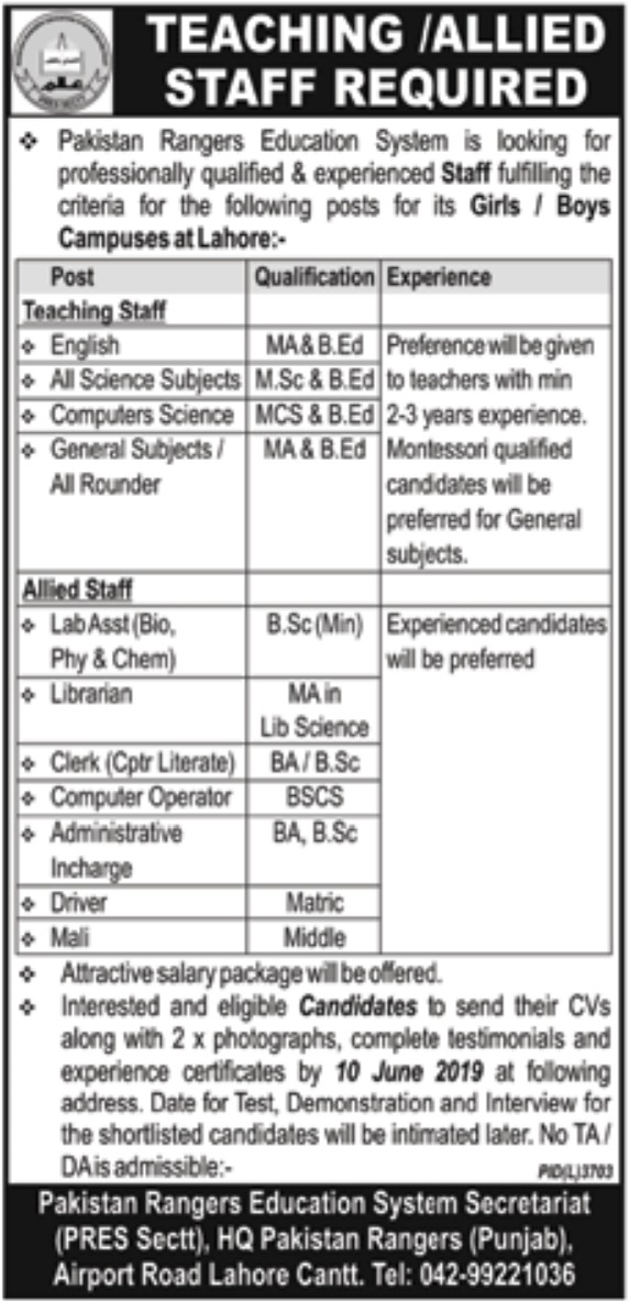 Pakistan Rangers Education System Lahore Jobs 2019