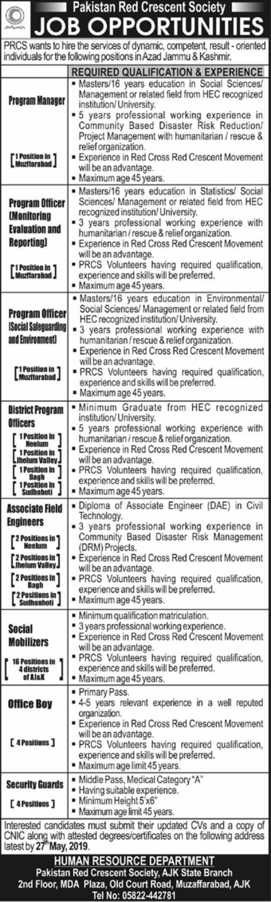 Pakistan Red Crescent Society PRCS AJK Jobs 2019