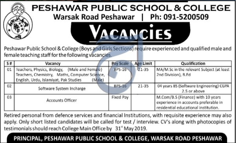 Peshawar Public School & College Jobs 2019 KPK
