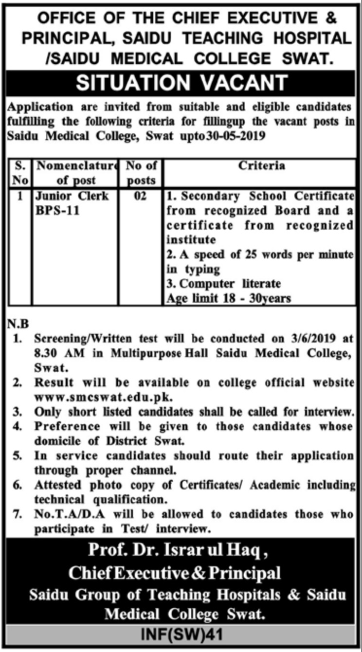 Saidu Medical College Swat Jobs 2019 KPK
