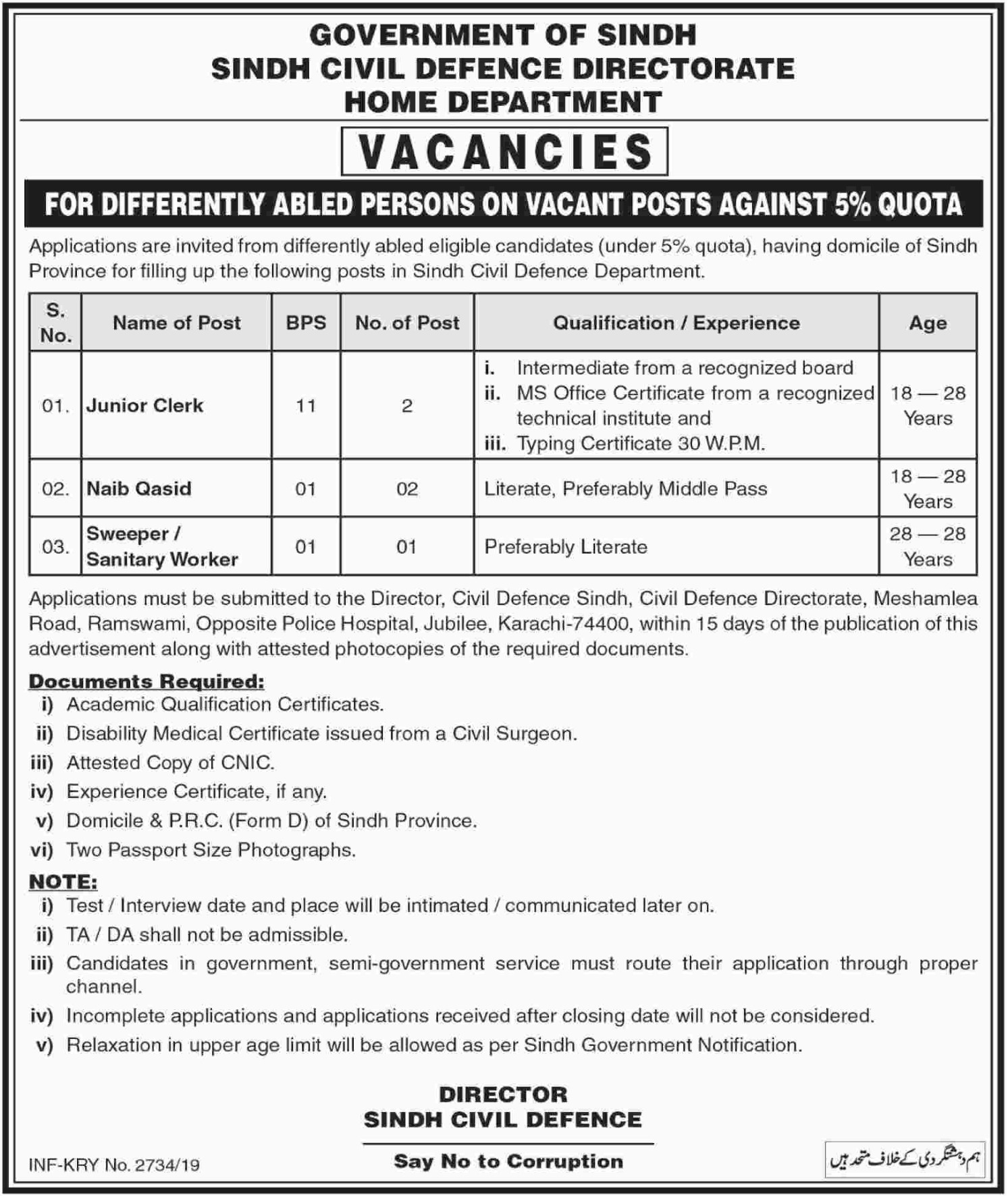 Sindh Civil Defence Directorate Jobs 2019 Home Department Karachi