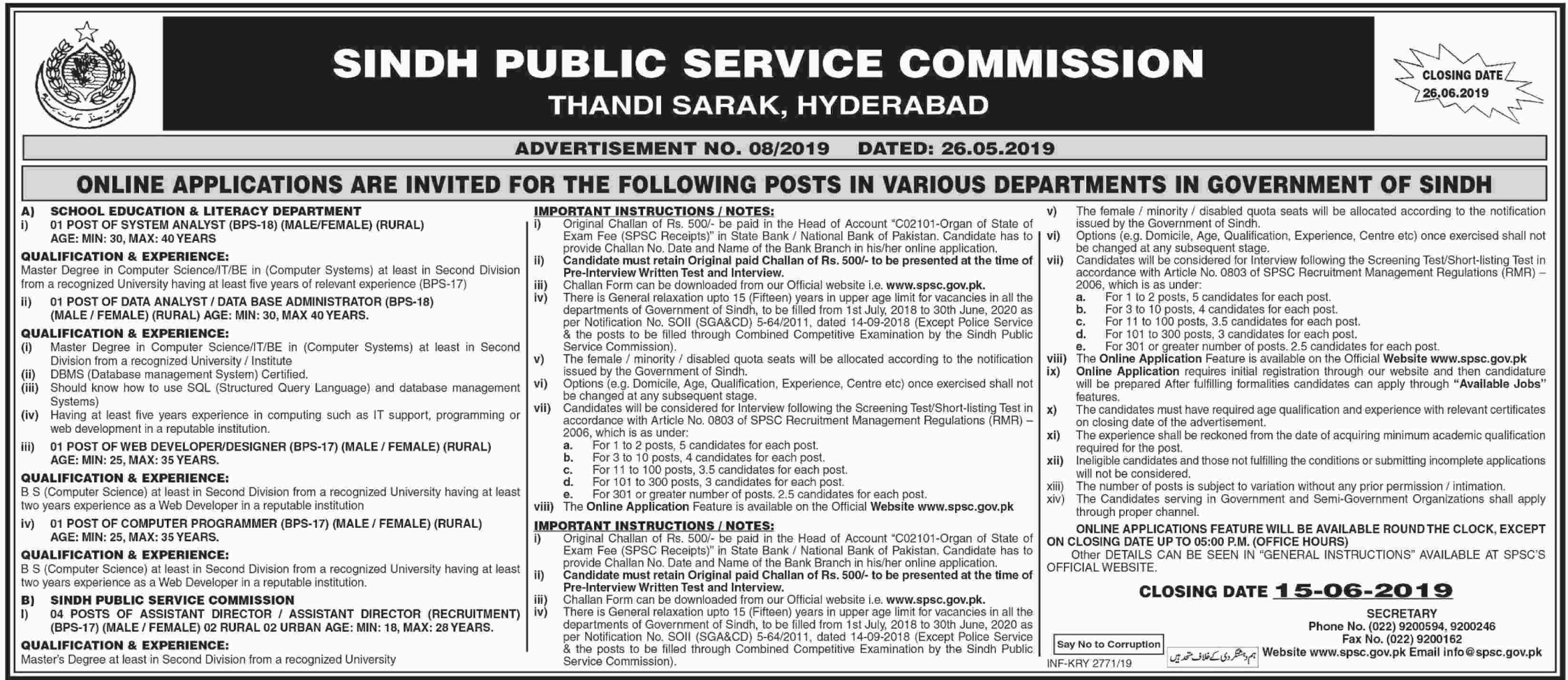 Sindh Public Service Commission SPSC Jobs 2019
