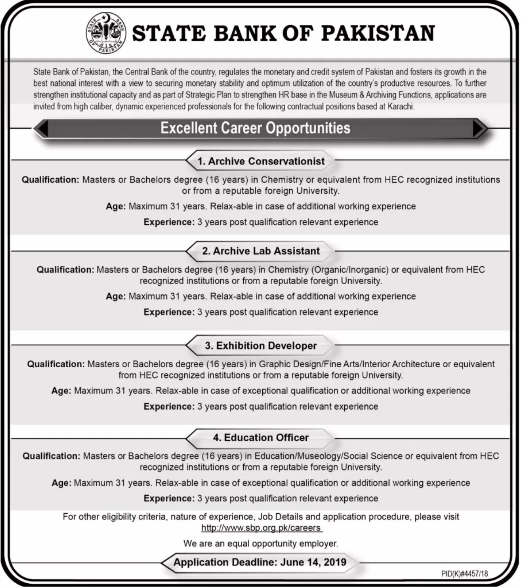 State Bank of Pakistan SBP Jobs 2019