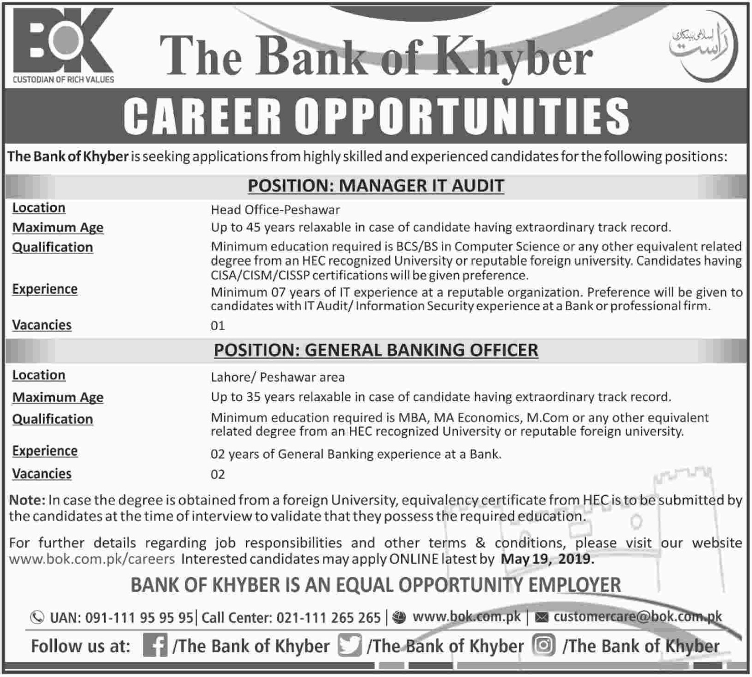 The Bank of Khyber Jobs 2019