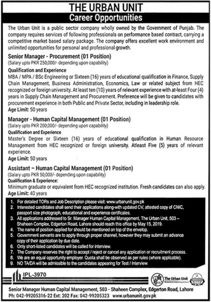 The Urban Unit Jobs 2019 Public Sector Company