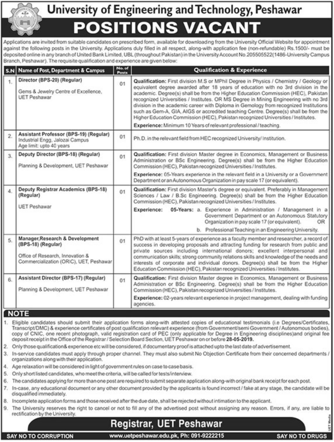 University of Engineering & Technology UET Peshawar Jobs 2019 KPK