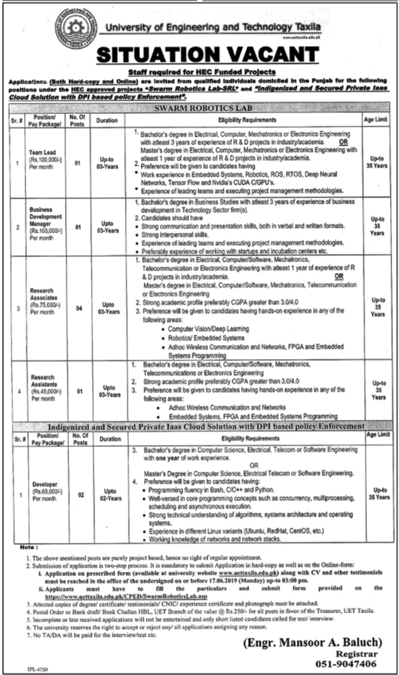 University of Engineering & Technology UET Taxila Jobs 2019