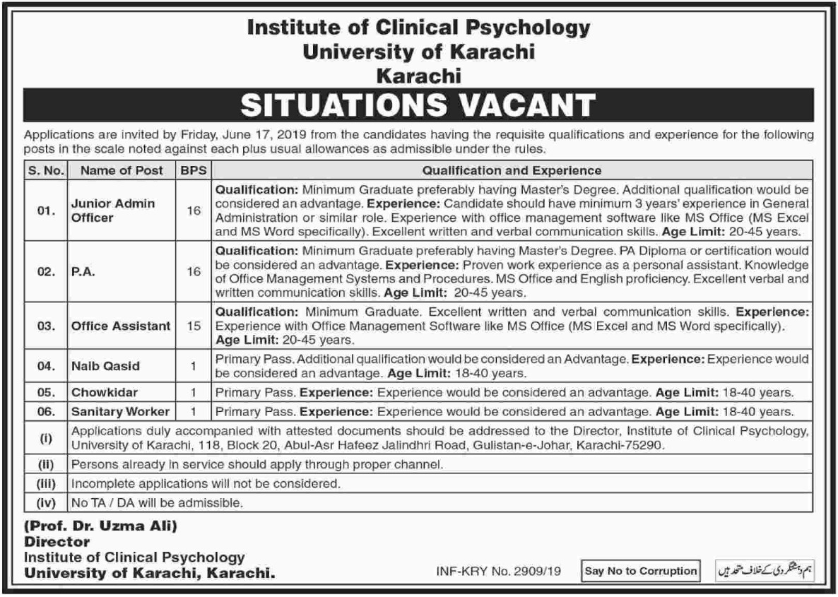 University of Karachi Jobs 2019 Institute of Clinical PsychologyUniversity of Karachi Jobs 2019 Institute of Clinical Psychology