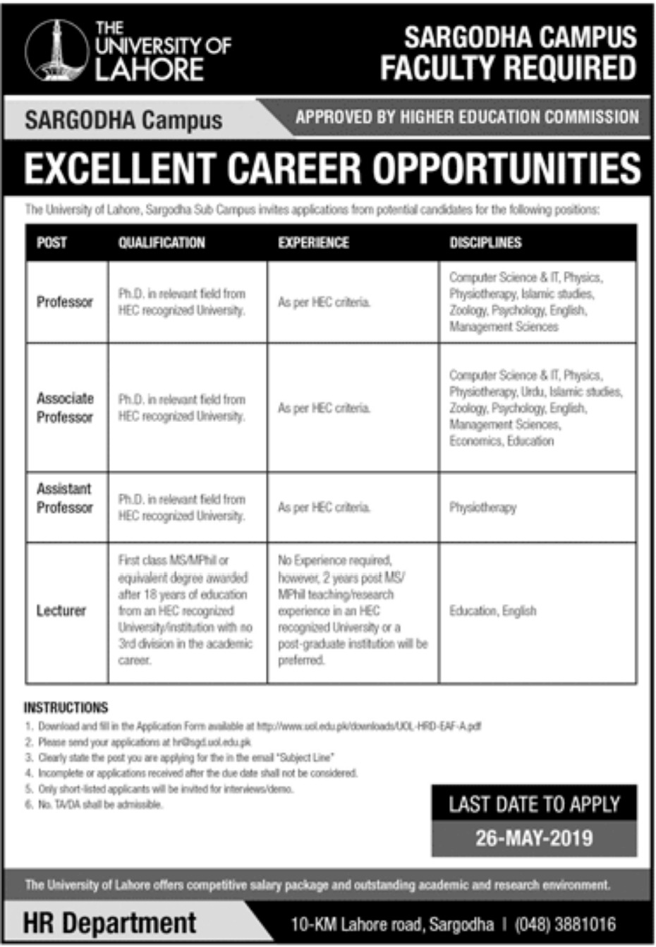 University of Lahore Jobs 2019 Sargodha Campus
