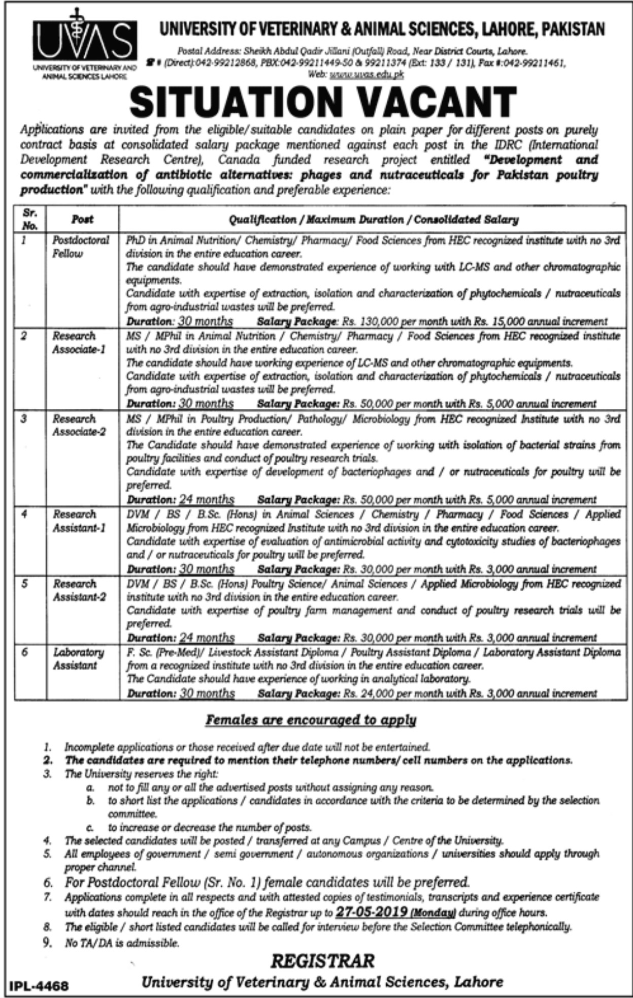 University of Veterinary & Animal Sciences UVAS Lahore Jobs 2019