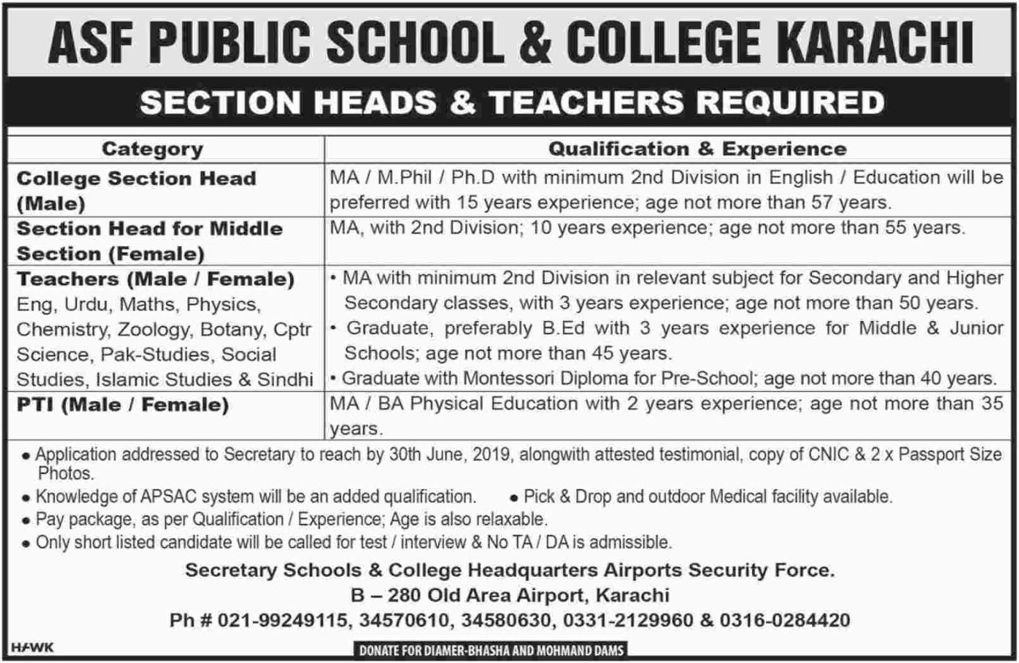 ASF Public School & College Karachi Jobs 2019