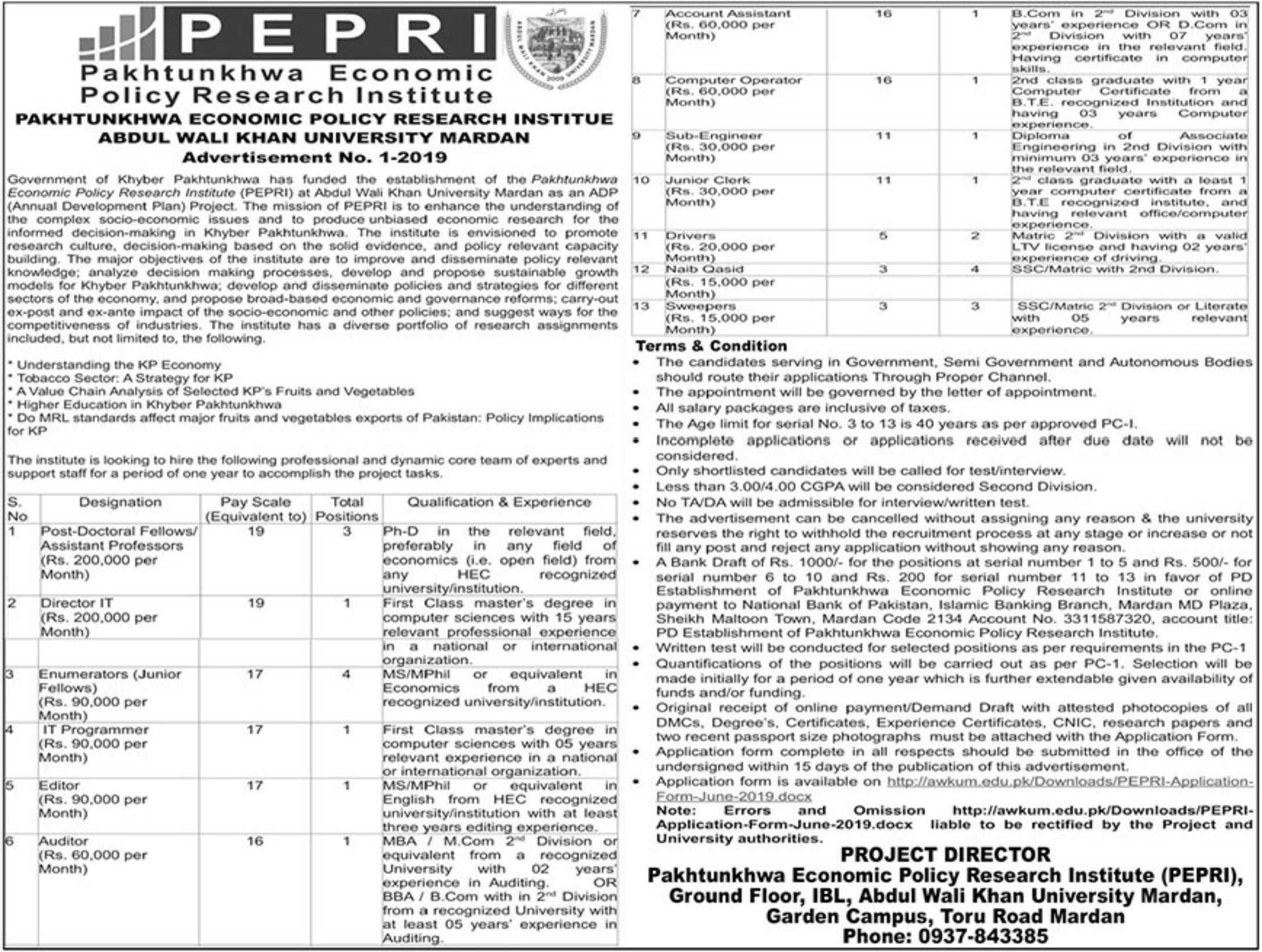 Abdul Wali Khan University Mardan Jobs 2019 PEPRI Pakhtunkhwa Economic Policy Research Institute