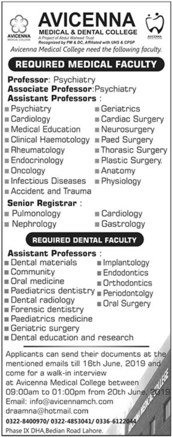 Avicenna Medical & Dental College Lahore Jobs 2019