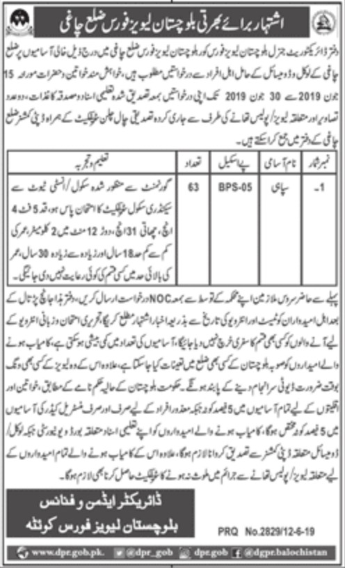 Balochistan Levies Force Jobs 2019 Chaghi