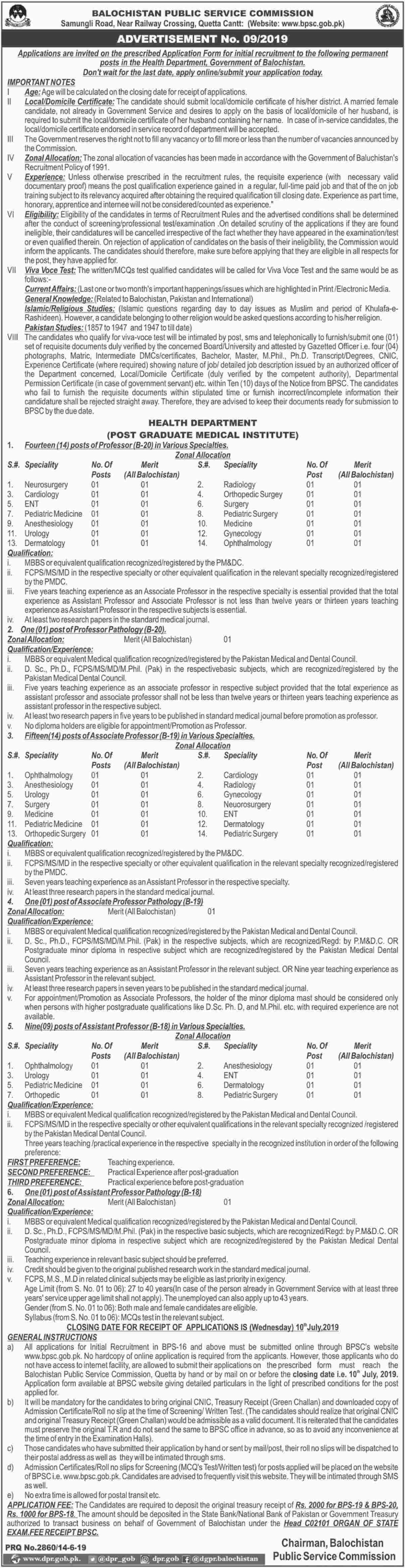 Balochistan Public Service Commission BPSC Jobs 2019 Health Department