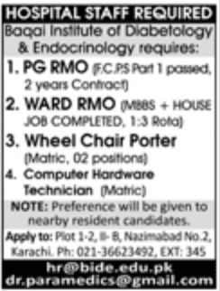 Baqai Institute of Diabetology & Endocrinology Karachi Jobs 2019