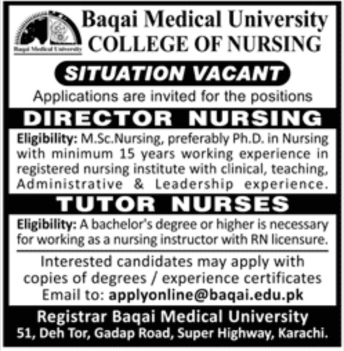 Baqai Medical University College of Nursing Karachi Jobs 2019