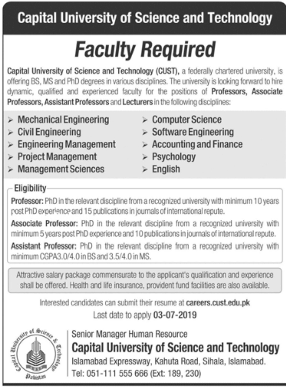 Capital University of Science and Technology CUST Islamabad Jobs 2019 Latest