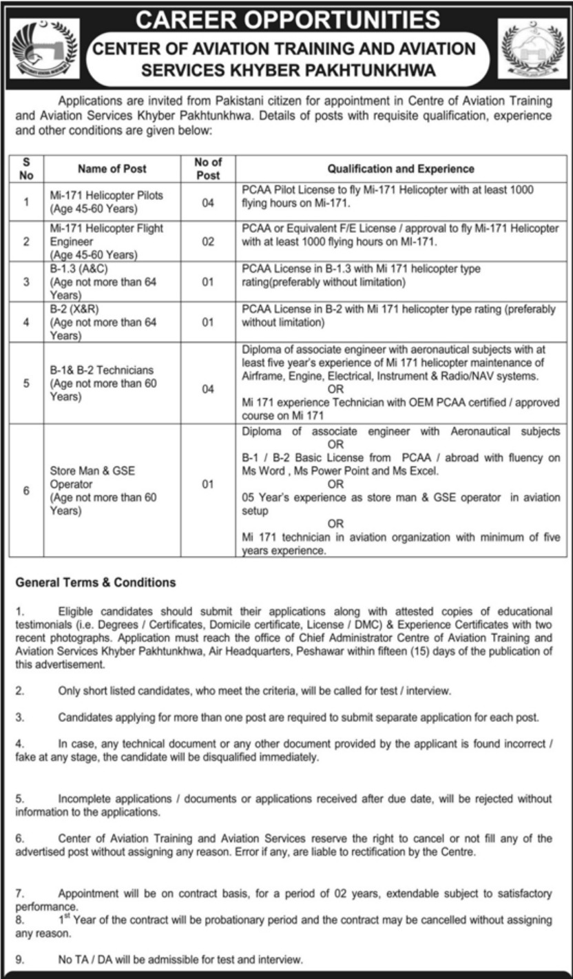 Center of Aviation Training and Aviation Services Khyber Pakhtunkhwa Jobs 2019