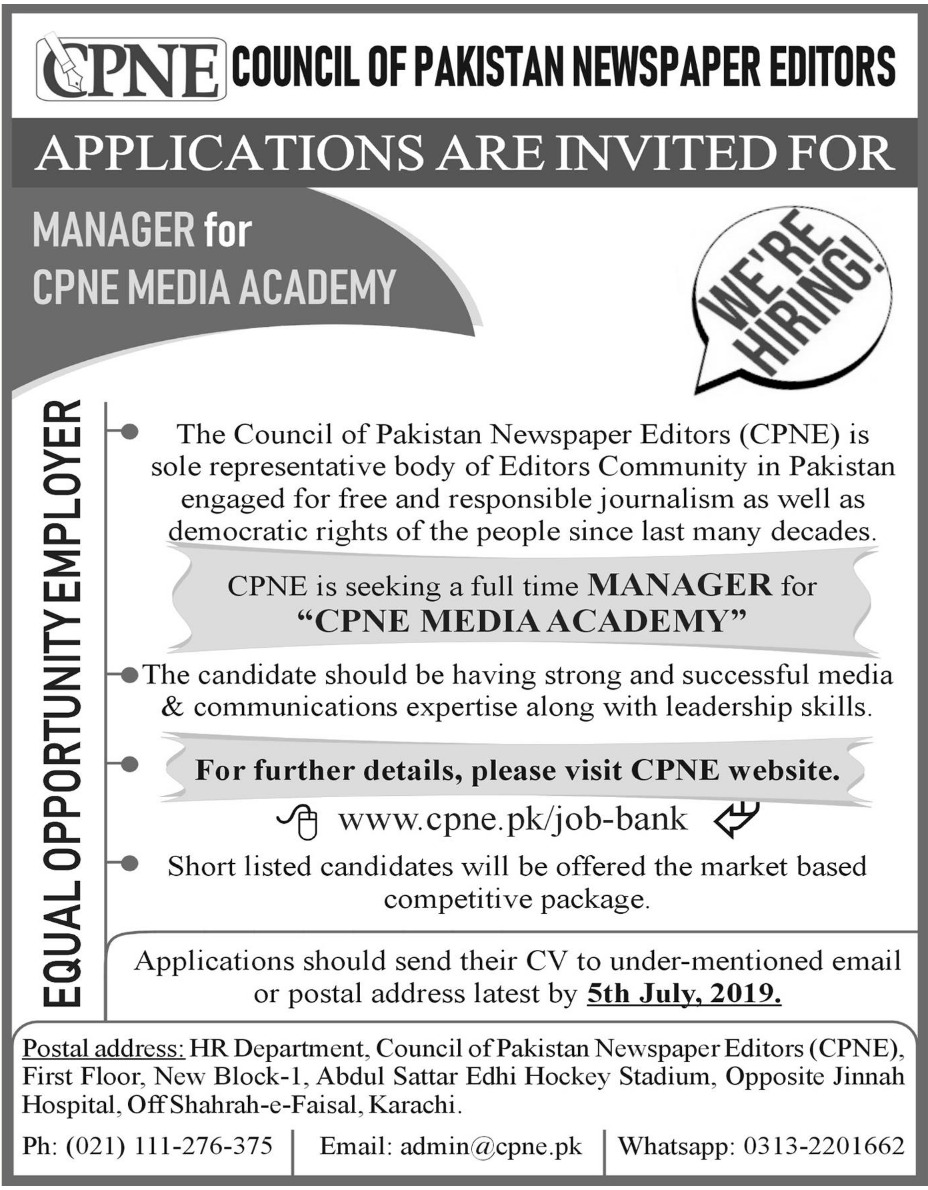 Council of Pakistan Newspaper Editors CPNE Jobs 2019 Karachi