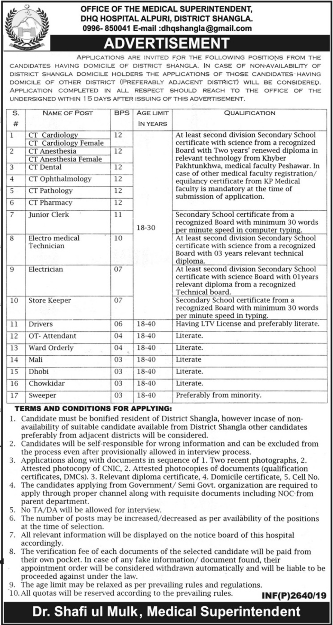 DHQ Hospital Alpuri Shangla Jobs 2019 Government of Khyber Pakhtunkhwa