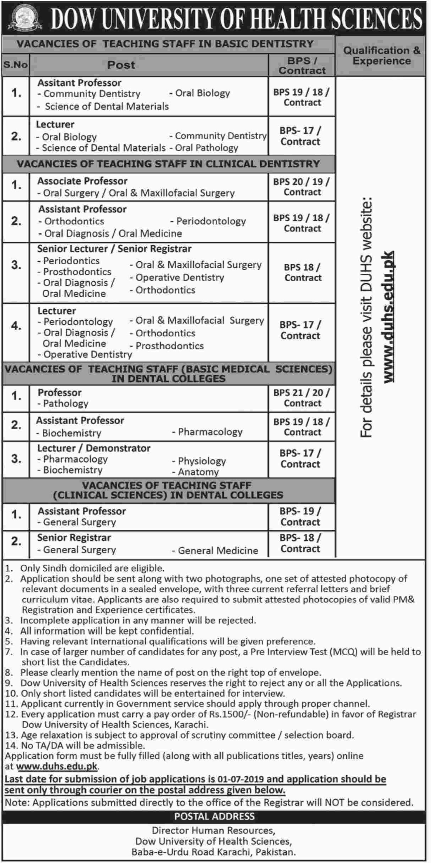 DOW University of Health Sciences Jobs 2019 DUHS Karachi