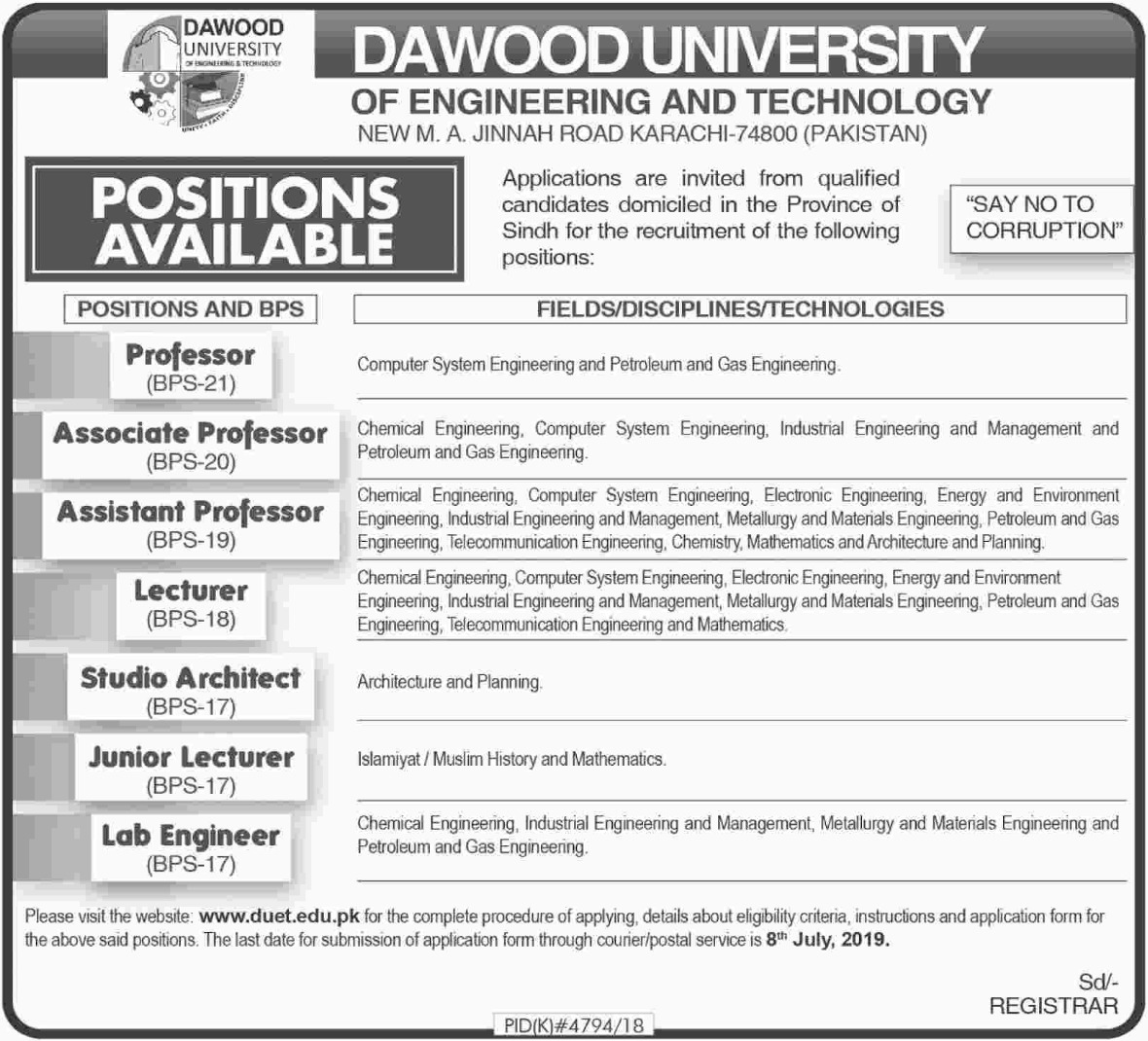 Dawood University of Engineering & Technology Karachi Jobs 2019