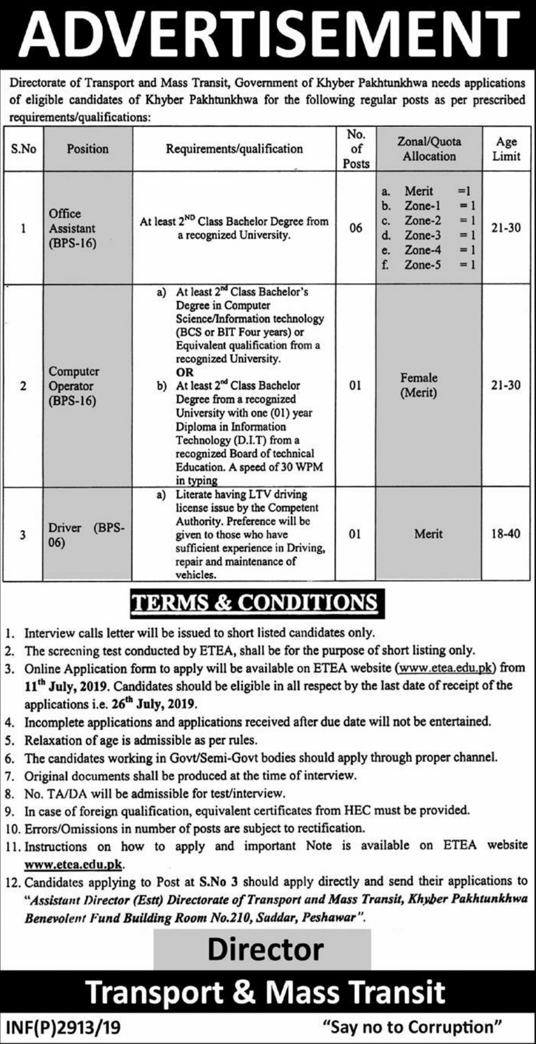 Directorate of Transport and Mass Transit Peshawar Jobs 2019 Government of Khyber Pakhtunkhwa