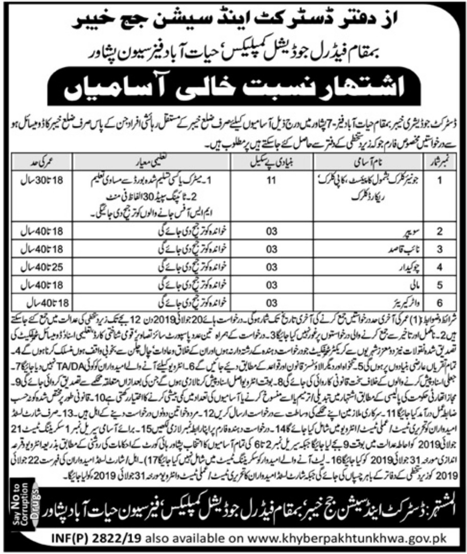 District & Session Court Khyber Hayatabad Peshawar Jobs 2019