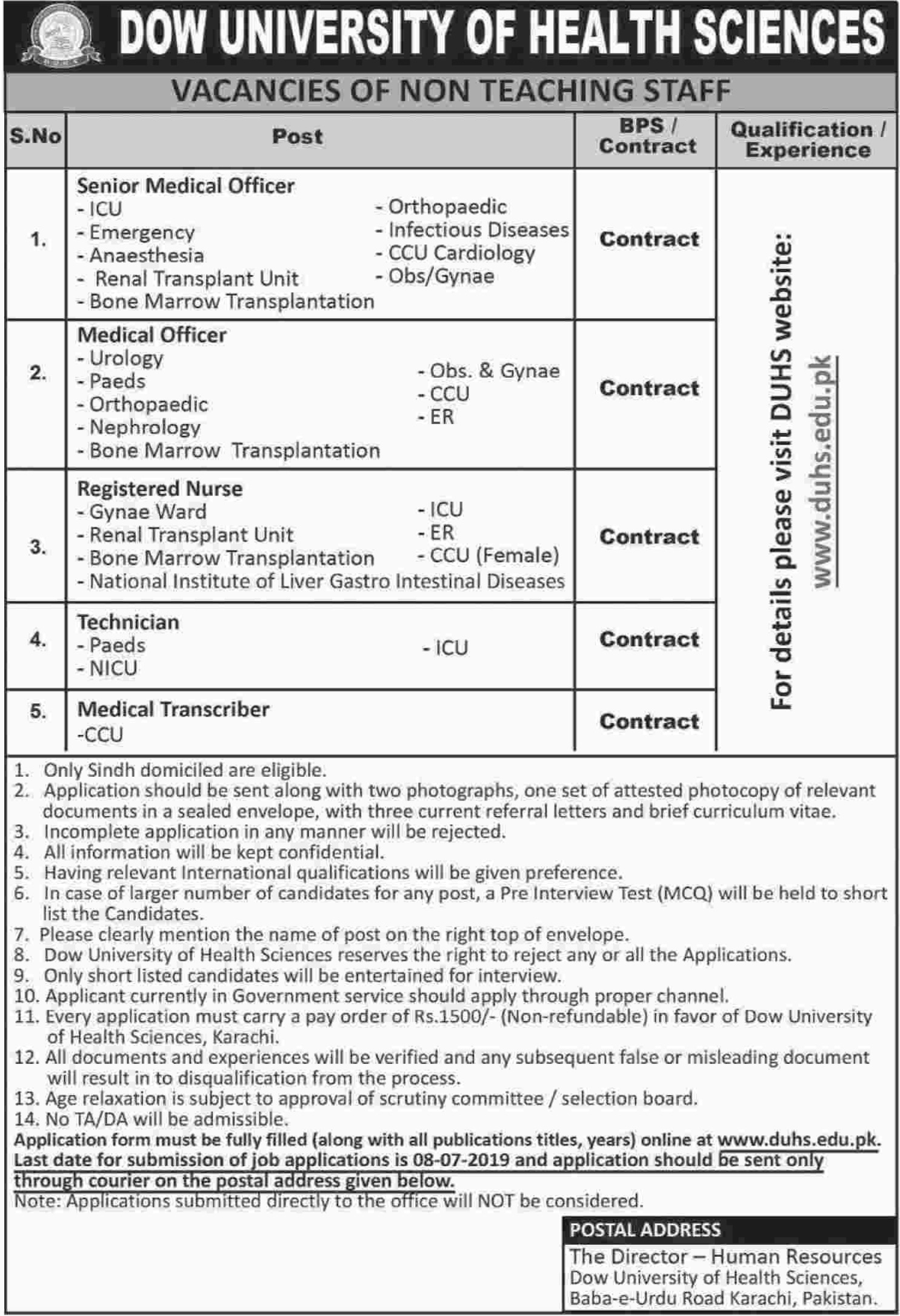 Dow University of Health Sciences DUHS Karachi Jobs 2019 Sindh