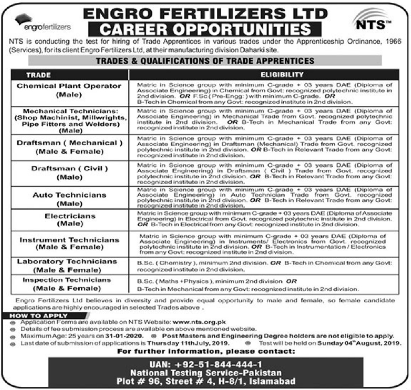 Engro Fertilizers Ltd Jobs 2019 Apply through NTS