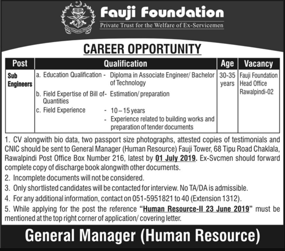 Fauji Foundation Rawalpindi Jobs 2019 Sub Engineers