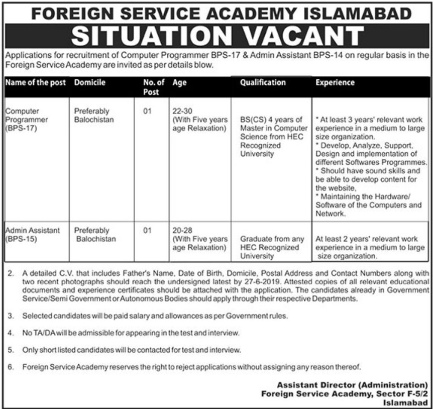 Foreign Service Academy Islamabad Jobs 2019