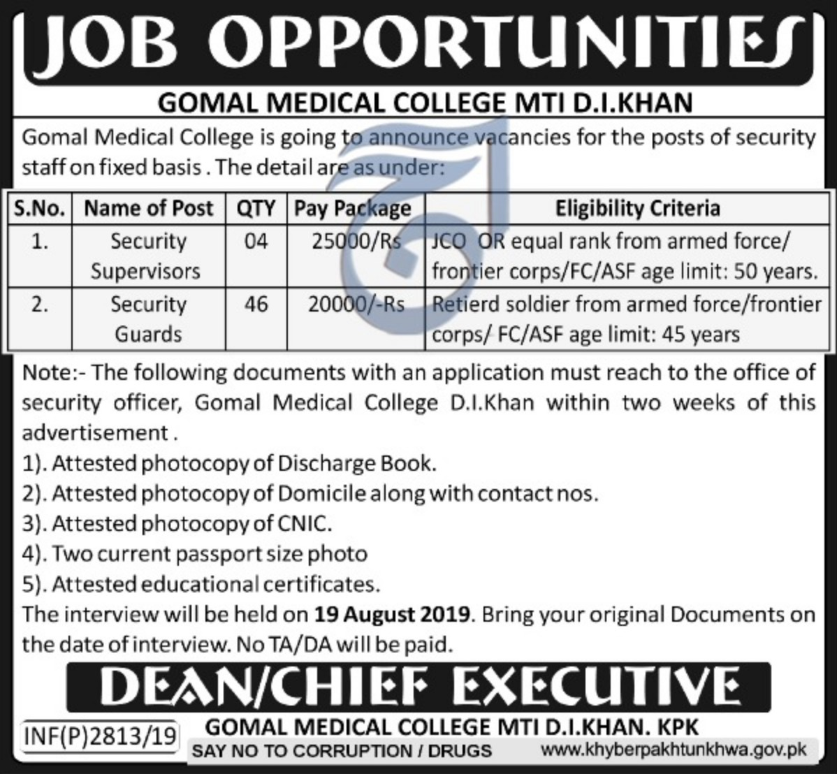 Gomal Medical College D.I.Khan Jobs 2019 Khyber Pakhtunkhwa